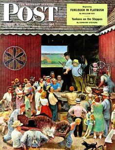 """Country Auction,"" from The Saturday Evening Post, Aug. 5, 1944, by John Falter."