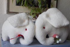 Plush white elephant toys mother and baby  by MadeByMiculinko, $30.00