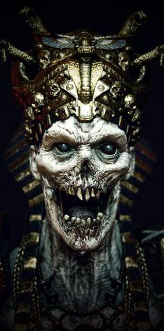 Ancient Egypt Art, Alien Concept Art, Horror Art, Dark Art, Knight, Scary, Skull, Sculpture, Demons