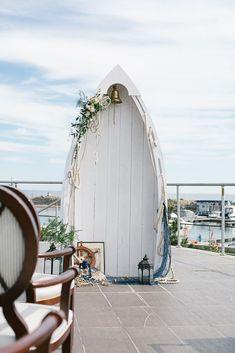 boat wedding arch for a nautical wedding Fishing Wedding, Boat Wedding, Seaside Wedding, Wedding Ceremony, Wedding Venues, Beach Ceremony, Coastal Wedding Ideas, Spring Wedding, Pirate Wedding