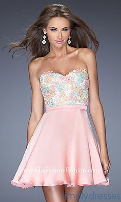 Short Strapless Sweetheart La Femme Dress at SimplyDresses.com
