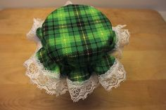 8 Green and Black Plaid Jar Bonnets/Jar by KathysHeartCreations