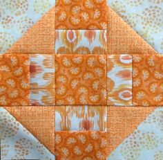 Orange/pumpkin colors :: Quilting on the Crescent  like the strips as squares  also half triangles