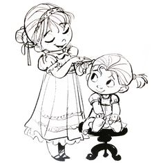 Frozen (2013) concept art, Anna and Elsa as toddlers ✤ || CHARACTER DESIGN REFERENCES