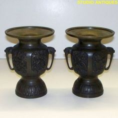 Vintage JAPANESE USUBATA VASE Bronze IKEBANA FLOWER