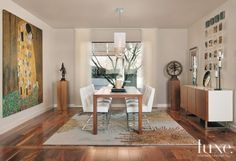 Contemporary White Dining Room with Gallery Feel