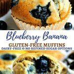 Easy Gluten-Free Blueberry Banana Muffins {Dairy-Free and Refined Sugar Free Option}  GF Sweets Easy Gluten-Free Blueberry Banana Muffins {Dairy-Free and Refined Sugar Free Option} – Mama Knows Gluten Free Banana Blueberry Muffins, Gluten Free Blueberry, Banana Oats, Gluten Free Muffins, Gluten Free Recipes, Dairy Free Options, Gluten Intolerance, Muffin Recipes, Sugar Free