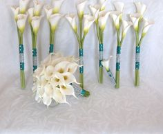 Calla lily wedding bouquet Real touch mini by ChurchMouseCreations Calla Lily Bridal Bouquet, Bride Bouquets, Bridal Flowers, Bridesmaid Bouquets, Single Flower Bouquet, Ribbon Bouquet, Bridesmaid Jewelry, Bridesmaids, Calla Lillies