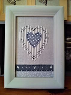 Machine sewn heart picture make with pretty grey themed fabrics and ribbon Sewing Projects, Projects To Try, Heart Pictures, Fabric Pictures, Sewing Appliques, Heart Art, Embroidery Applique, Textile Art, Fabrics