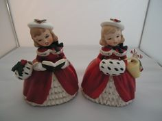 Vintage Napco Christmas Caroler Planter Figurine and Napco Christmas Girl Planter, Red Coat With Holly Hat, 2 Planters, 1956, Free USA Ship - pinned by pin4etsy.com