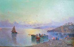 32-Quadro á óleo sobre tela, representando paisagem do mediterrâneo, assinado E. Salvi (Ensel