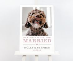My humans are getting married dog wedding welcome sign (Amelia style) Wedding Welcome Signs, Wedding Signs, Dog Wedding, Wedding Day, Photo Supplies, Burgundy And Gold, Dog Signs, Name Cards, Pretty In Pink