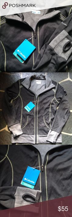 NWT Columbia Sportswear jacket size S No flaws, has thumb holes, grey, light grey and light yellow trim. Super cute!! No flaws. Columbia Jackets & Coats