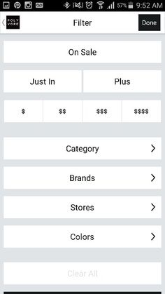 Polyvore app mobile search page filtering order filter Polyvore App, Search Page, Mobile Ui, Ui Ux, Filters, Sorting, Minimal, Apps, Design