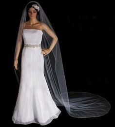 Elegant Beaded Rhinestone Edge Cathedral Length Wedding Veil. Strapless Dress Formal, Formal Dresses, Wedding Dresses, Budget Wedding, Wedding Planning, Wedding Ideas, Wedding Veil, Wedding Accessories, Cathedral
