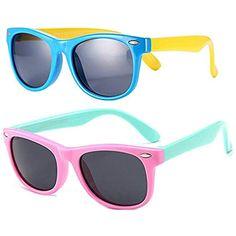 cca06894b8 FOURCHEN Gafas de sol flexibles de goma polarizadas para niños para niñas  de 3 a 10