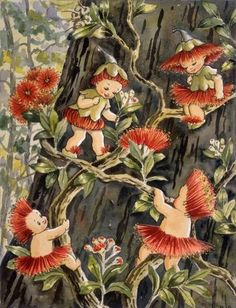 Australian writer May Gibbs and her postcard illustration of gumnut babies found Vintage Fairies, Vintage Art, Bebe Nature, Elves And Fairies, Australian Art, Australian Vintage, Flower Fairies, Fairy Art, Magical Creatures
