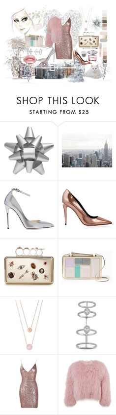 """СOld silver pink dress"" by liubovdreko-1 ❤ liked on Polyvore featuring Martha Stewart, Mariah Carey, Jimmy Choo, Alexander Wang, Alexander McQueen, Kate Spade, Michael Kors, Messika, Charlotte Simone and Lime Crime"