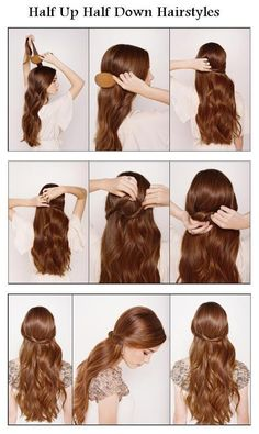 half-up hairstyle. . . you'll have to curl your hair before doing this so it'll look uniform.