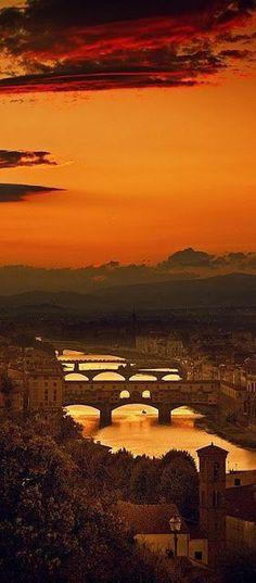 Four bridges of Firenze, Toscana, Italia Dream Vacations, Vacation Spots, Italy Vacation, Vacation List, Wonderful Places, Beautiful Places, Beautiful Sunset, Stunningly Beautiful, Beautiful Pictures