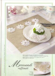 "Photo from album ""Burda Special Вязание on Yandex. Kitchen Dinning Room, Kitchen Sets, Crochet Kitchen, Crochet Flowers, White Flowers, Burlap, Napkins, Sewing, Simple"
