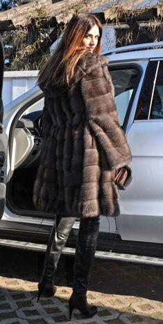 New Braschi Graphite Royal Saga Mink Parka Fur Coat Hood Class of Sable Sapphire | eBay