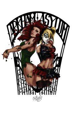 "Poison Ivy and Harley Quinn ""Arkham Asylum"" Art Print by Huffychip"