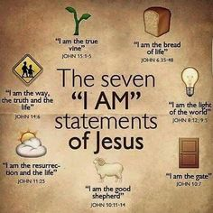 "Bible verses - The seven ""I Am"" statements of Jesus. Christian Life, Christian Quotes, Christian Stories, Bible Scriptures, Bible Quotes, Jesus Bible, Jesus I Am, Jesus Book, Jesus Faith"