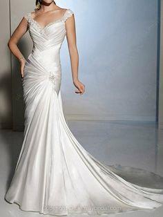 Sheath/Column Off-the-shoulder Satin Chapel Train White Ruffles Wedding Dresses $234.99 #sheath/column #wedding #white #wedding dress #bridal #chapel #satin #my wedding #offtheshoulder #bridal gown #ruffles #dresses #train