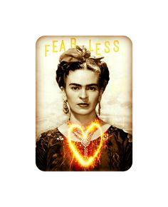 Frida Kahlo Art Print Fearless Quote Original Photomontage Signed New Year Mixed Media Collage Heart Sparklers Fireworks on Etsy, $14.00