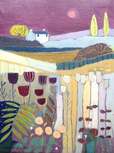 Original Acrylic Painting on Canvas 'Berry Sky'. Annabel Burton