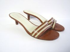 RALPH LAUREN TAN AND CRÈME LEATHER SLIP-ON HEELED SANDALS SIZE 9B $99.99