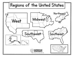 2nd Grade Geography, Us Geography, Geography Worksheets, Map Worksheets, Social Studies Worksheets, Teaching Geography, 2nd Grade Worksheets, United States Map Printable, Free Printable World Map