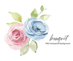 Leaf Clipart, Frame Clipart, Pink And Blue Flowers, Free Advertising, Print Templates, Sticker Design, Watercolor Flowers, Digital Illustration, Party Invitations