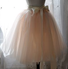 Peachy Dream Tutu - Romantic Ballerina Tulle Skirt with Lining and Satin Sash by Anjou - Whimsical Wedding, Party, Formal, Holiday