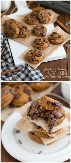 Flourless + Secretly Healthy Pumpkin Chocolate Chip Cookies---------to make oat flour, just put oats in cuisinart until flour consistency; Gluten Free Desserts, Just Desserts, Delicious Desserts, Healthy Sweets, Healthy Baking, Healthy Cookies, Yummy Treats, Sweet Treats, Cookie Recipes