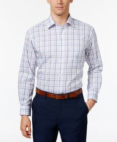 Club Room Men's Classic/Regular Fit Check Dress Shirt, Only at Macy's - Blue 14.5 32/33