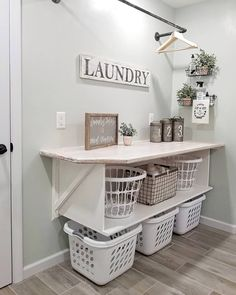 Sorry but this is an organizers dream! 😍 .⁣ .⁣ @blessed_ranch has her laundry room storage space organized to a tee! 👕👚⁣ Find home decor items to create your perfect cozy corner at www.decorsteals.com