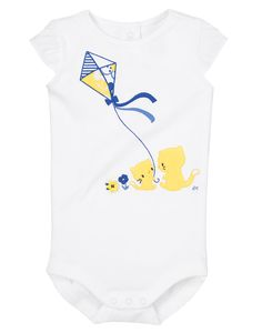 Comfy, cozy and cute all over. Soft bodysuit has sweet velour appliqués and pretty embroidery.