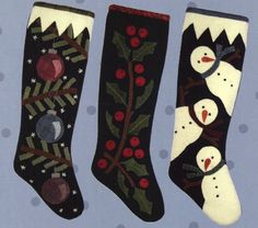 Wool Applique Christmas Pattern - Christmas Stockings Pattern - Snowman Stocking - Holly Stocking -