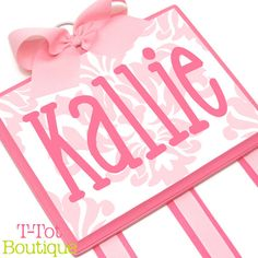 NEW DESIGN - Custom Hand Painted Boutique Childrens Hair Bow Holder Personalized Modern Damask Print - LARGE on Etsy, $57.95