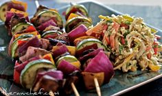 I want to be Truly Healthy Portabello Kebabs with Asian Slaw - Raw Food Diet Raw Vegan Recipes, Vegan Foods, Vegetarian Recipes, Healthy Recipes, Vegan Raw, Vegan Lunches, Vegan Snacks, Vegan Dinners, Healthy Meals