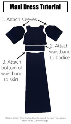 Sewing Dress DIY maxi dress with lots of pictorial instructions. - Tutorial for a knit diy maxi dress with three-quarter sleeves. We used it as a bridesmaid dress and it was perfect! Sewing Dress, Diy Dress, Sewing Clothes, Barbie Clothes, Diy Clothing, Clothing Patterns, Sewing Patterns, Blouse Patterns, Maxi Dress Patterns