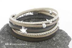 Wickelarmband in Brauntönen mit Stern von MK-Kreativschmuck auf http://de.dawanda.com/product/93669335-wickelarmband-in-brauntoenen-mit-stern