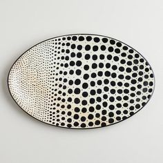 Black and White Soapstone Dot Platter contemporary platters