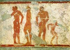 Athletes and dance warrior. 5th century B.C.Tarquinia, Tomb of the Chariots.