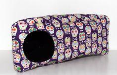 Hedgie Corner Cube, Guinea Pig Triangle Cosy, Ferret Hide, Rat Cosy - Colourful Sugar Skulls on Purple