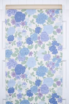 great retro 60s midcentury floral in blue