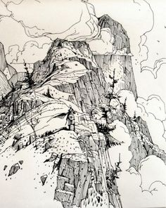 pen and ink illustrations brownie o que acompanha - Brownie Landscape Sketch, Landscape Drawings, Landscape Wallpaper, Landscapes, Ink Illustrations, Illustration Art, Drawing Sketches, Art Drawings, Mountain Drawing