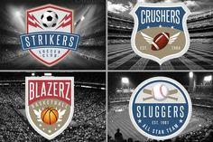 4 Sports Logos Templates by Lucion Creative on Creative Market Badge Template, Logo Templates, Music Festival Logos, Crest Logo, Construction Logo, Sports Logos, Fitness Logo, Design Bundles, School Design